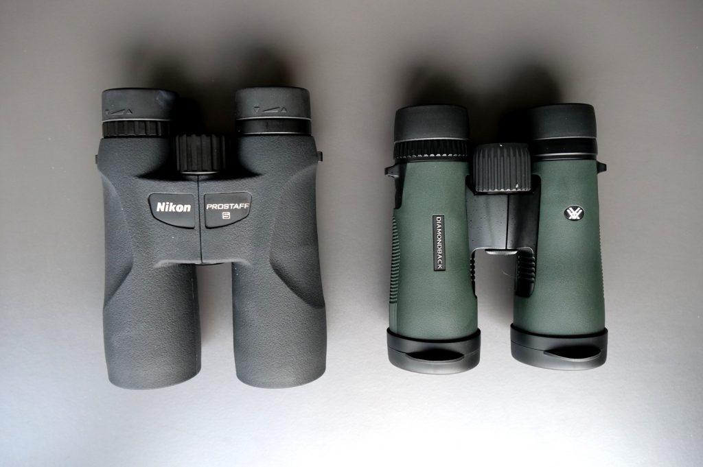 Nikon Prostaff 5 is bigger with fewer details, Diamondback, despite being smaller, weighs more.