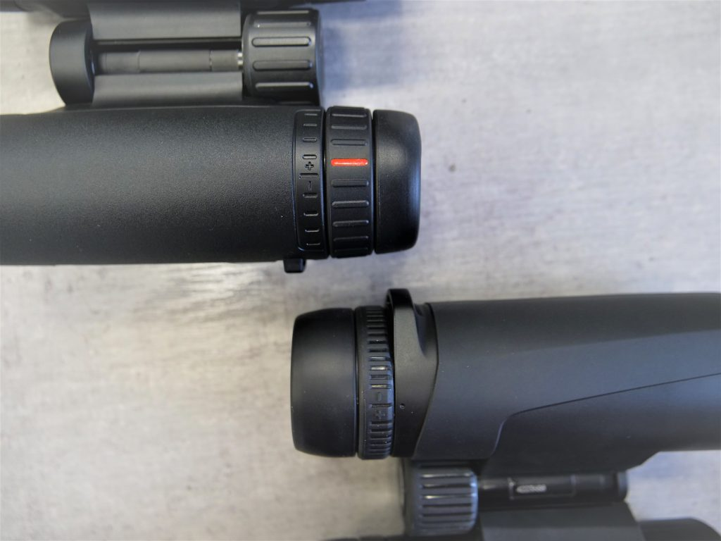 Leica Trinovid 8×32 HD (Up, Left) Vs. Zeiss Conquest HD 8×32 Diopter (Bottom, Right)