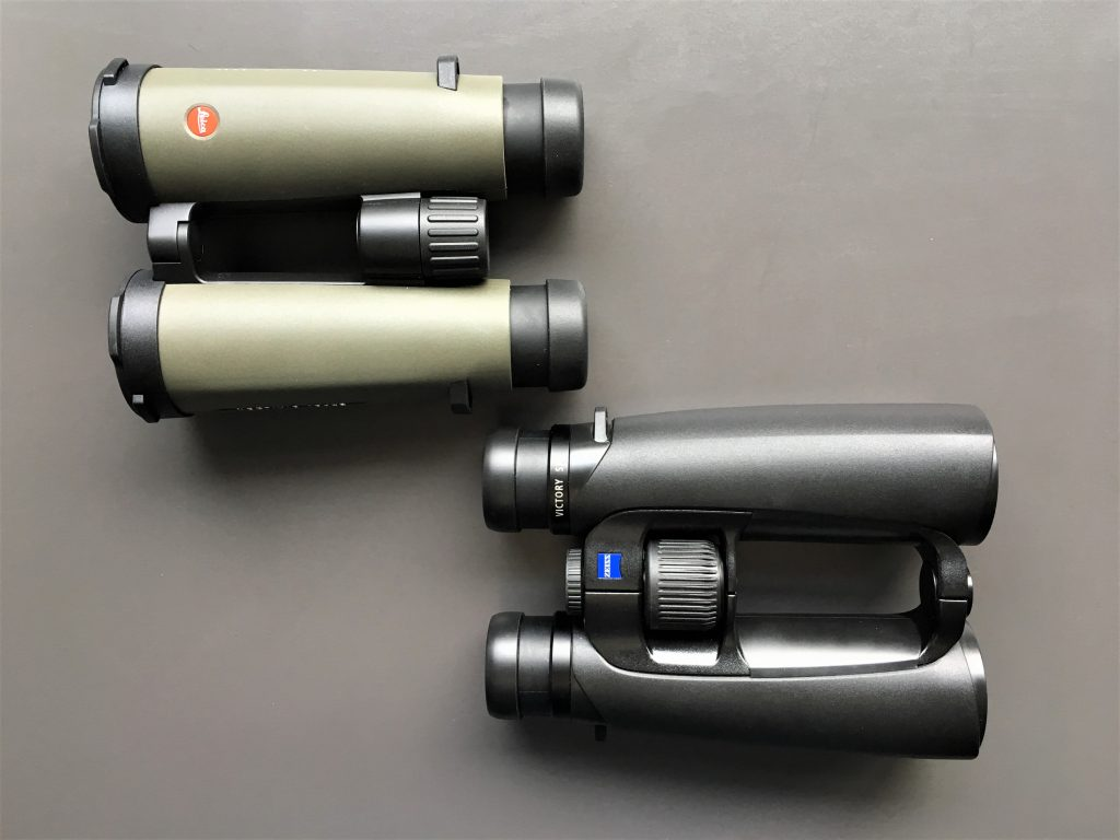 Leica Noctivid 10x42 (above) and Zeiss Victory SF 10x42 (below)