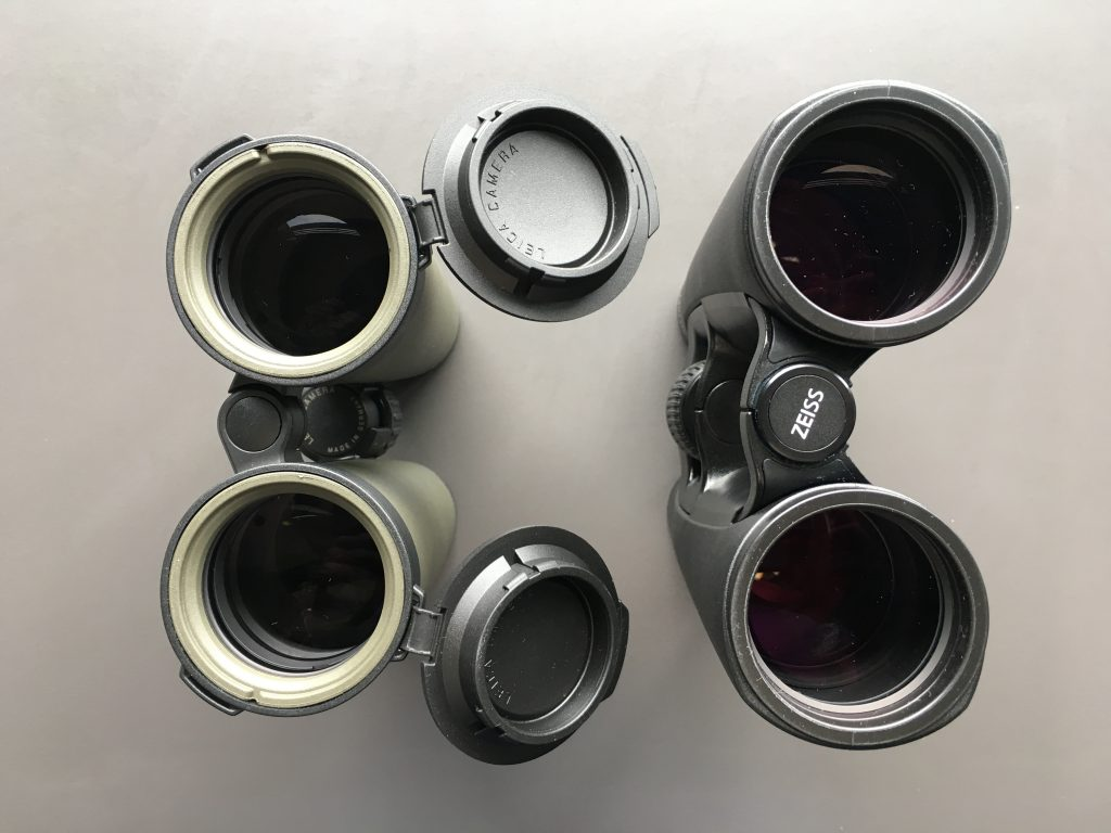 Leica Noctivid 10x42 (left) and Zeiss Victory SF 10x42 (right)