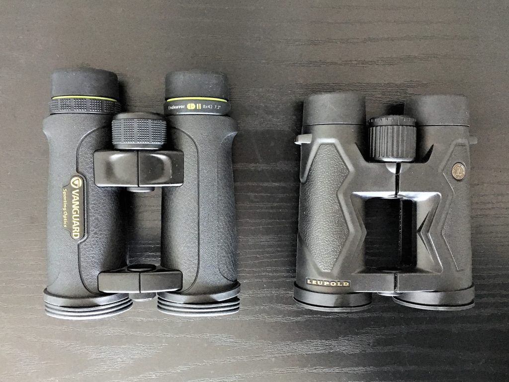 Vanguard Endeavor ED II 8×42 (left) and Leupold BX-3 Mojave 8×42 (right)